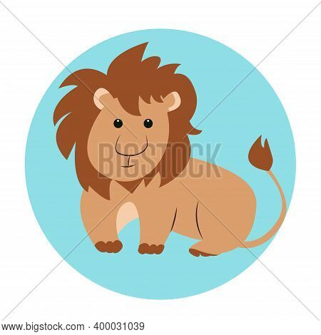 Funny Cartoon Lion With Shaggy Mane Sits And Looks Straight, Vector Illustration On Isolated Backgro
