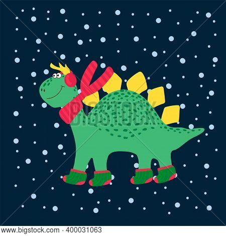 Christmas Cute Dinosaur. Winter Cartoon Illustrations Of Wild Animals In Winter Clothes. Vector Dino