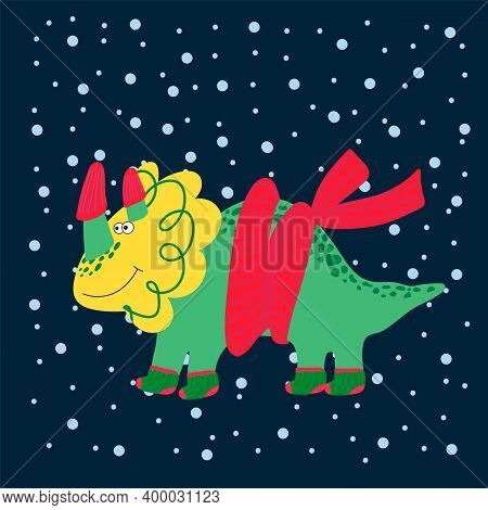 New Years Cute Dinosaur. Cute Cartoon Illustrations Of Wild Animals In Winter Clothes. Vector Dinosa
