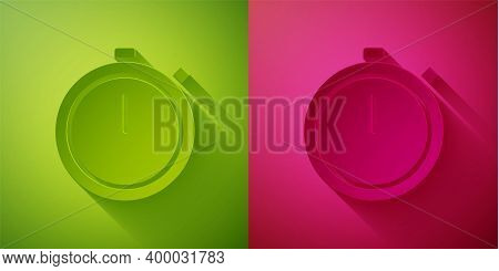 Paper Cut Stopwatch Icon Isolated On Green And Pink Background. Time Timer Sign. Chronometer Sign. P