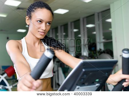 pretty women on the track  at the fitness club
