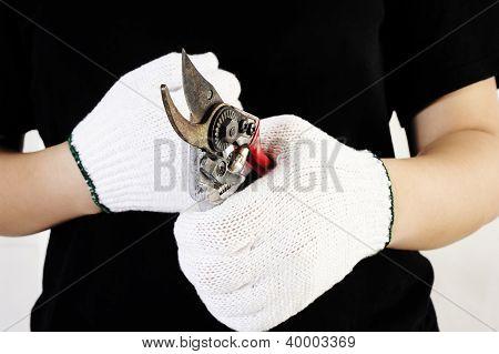 Rust Metal Scissors In Hand