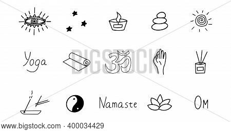 Set Of Elements For Meditation And Yoga. Black And White Hand Drawn Doodle Icon. Vector Isolated Sym