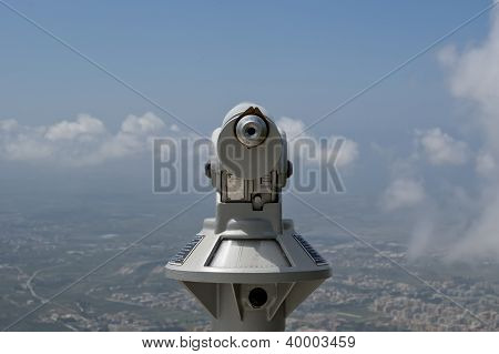 Telescope Viewer And Landscape Of A Mountain Valley With A Aerial View. Sicily. Italy