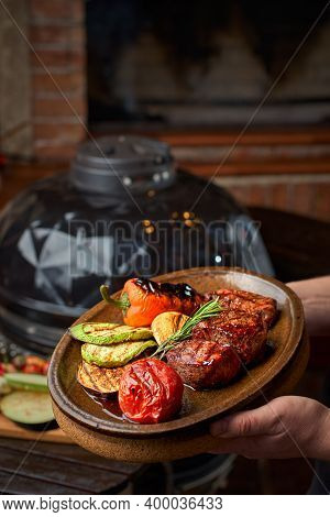 Bbq Cooking Concept, Vegetables And Meat Sizzling On Plate, Chef Presenting Dish