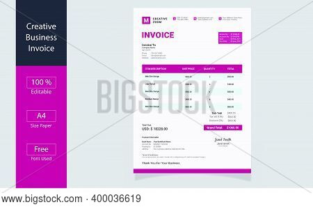 Modern Pink Invoice Template Design. Bill Form Business Invoice Accounting Design