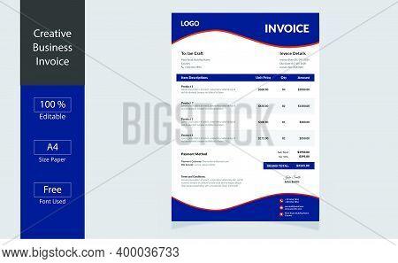 Invoice Minimal Design Template. Business Invoice. Bill Form Business Invoice