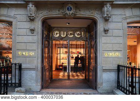 Paris, France - December 10, 2019: People Shop At Gucci Fashion Store In Avenue Montaigne Paris, Fra