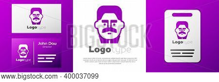 Logotype Portrait Of Joseph Stalin Icon Isolated On White Background. Logo Design Template Element.