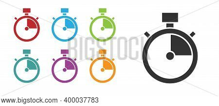Black Stopwatch Icon Isolated On White Background. Time Timer Sign. Chronometer Sign. Set Icons Colo