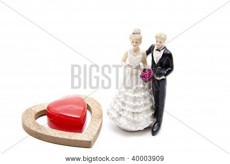 Red heart with Bridal Pair