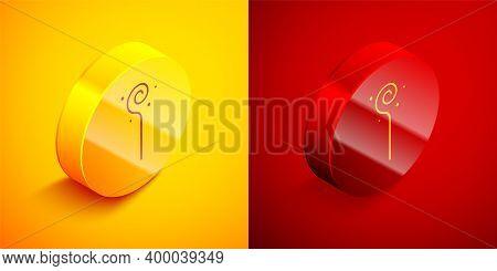 Isometric Magic Staff Icon Isolated On Orange And Red Background. Magic Wand, Scepter, Stick, Rod. C