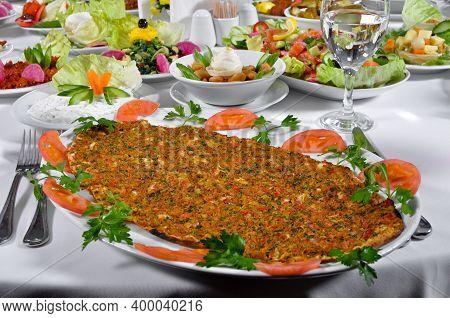Turkish Lahmacun Kebap, One Of The Most Important Dishes Of Turkish Cuisine, Delicious And Tradition