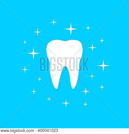 White Tooth With Shining Effect Stars Icon Isolated On Blue Background. Whitening Concept, Oral Teet
