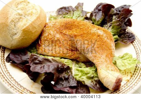 Chicken Drumstick with bread roll