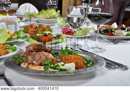 A Magnificent Dining Table And Traditional Tandir Kebab In A Luxury Restaurant, Turkish Traditional