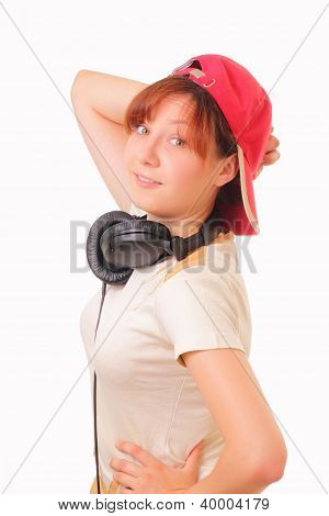 Funny Young Girl With Headphones