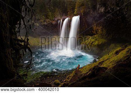 Koosah Falls On Mackenzie River In The Cascades In Oregon