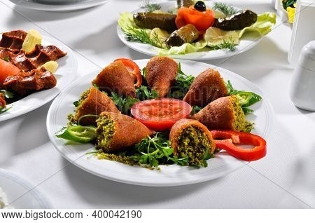 Icli Kofte Stuffed Meatballs, One Of The Most Important Dishes Of Turkish Cuisine, With Great Presen