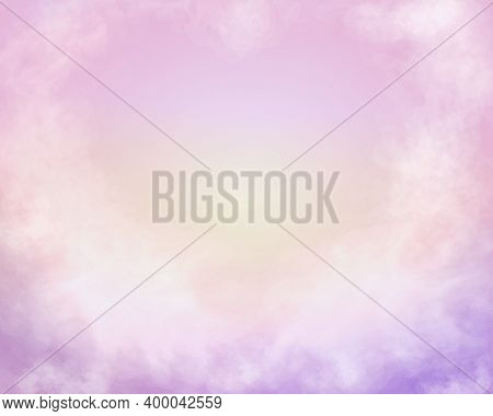 Cotton Pink Clouds Vector Background. Pastel Glamour Heaven Heart Silhouette Sky View. Romantic Heav