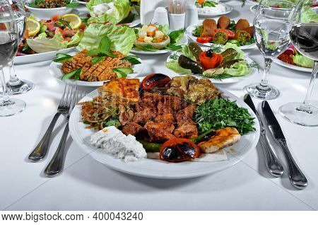 A Magnificent Dining Table And Lamb Shish Kebab In A Luxury Restaurant, Turkish Shish Kebab