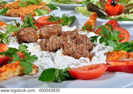 Meatball Balls From Traditional Turkish Cuisine Dishes, Grilled Meatballs, Turkish Izgara Kofte, A N