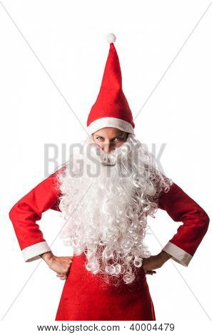 Woman santa isolated on the white