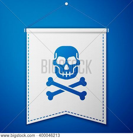 Blue Skull On Crossbones Icon Isolated On Blue Background. Happy Halloween Party. White Pennant Temp