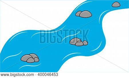 Cartoon Stream, River Isolated On White Background. Vector.