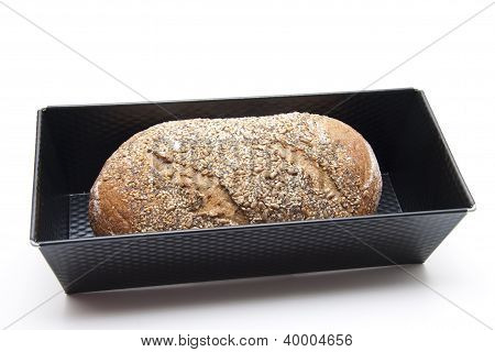 Baked Brown Bread in Baking dish