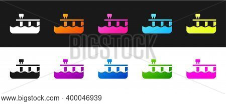Set Beach Pier Dock Icon Isolated On Black And White Background. Vector