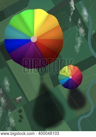 Hot Air Balloon Float Over A Patchwork Of Rural Farm Land. Image Is A Colorful Design With An Unusua