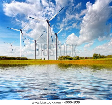 Windmill on spring field
