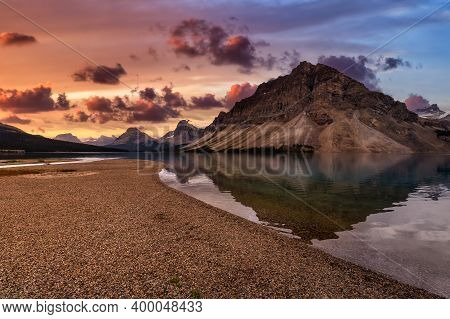 Beautiful Canadian Nature Landscape View Of Bow Lake In Banff National Park, Alberta, Canada. Dramat