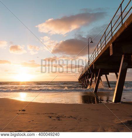 Seaside Landscape, Beautiful Sea Sunset. Glenelg Jetty, South Australia, Adelaide.