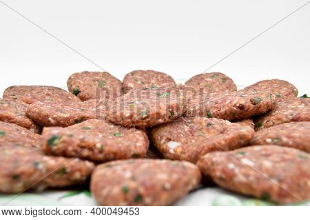 Raw Beef Meatballs Made With Various Homemade Spices, Beef Kofte Kofta Raw