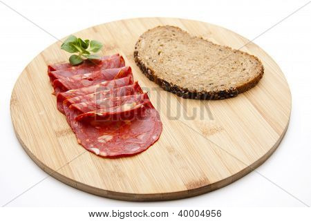 Salami Cold Cuts on Wooden plate