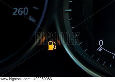 Empty Fuel Warning Light In Car Dashboard. Fuel Pump Icon. Gasoline Gauge Dash Board In Car With Dig
