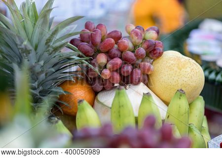 Various Summer And Autumn Fruits. A Grape And Fruit  For Pay Respect To God. A Grape For Pay Respect