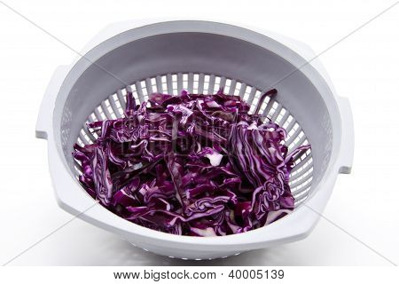 Sliced Red Cabbage in Sieve