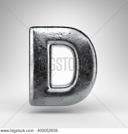 Letter D Uppercase On White Background. Iron 3d Rendered Font With Gloss Metal Texture.