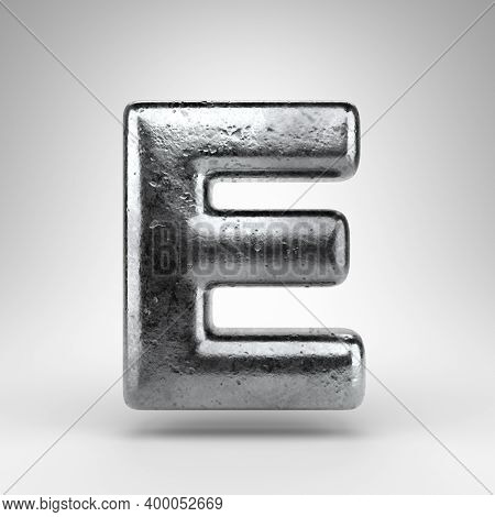 Letter E Uppercase On White Background. Iron 3d Rendered Font With Gloss Metal Texture.