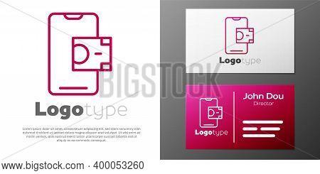 Logotype Line Mobile Banking Icon Isolated On White Background. Transfer Money Through Mobile Bankin