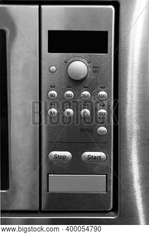 Modern Cooker Stainless Steel Inox Microwave Control Panel Detail