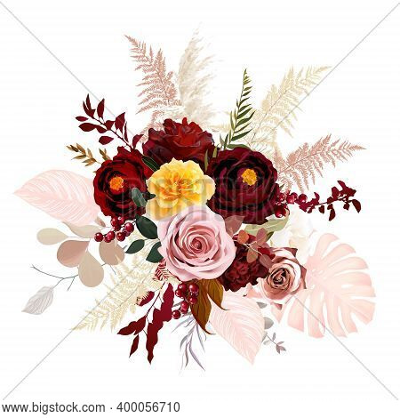 Luxurious Boho Trendy Vector Design Floral Bouquet. Blush Pink And Yellow Rose, Burgundy Red Dahlia,
