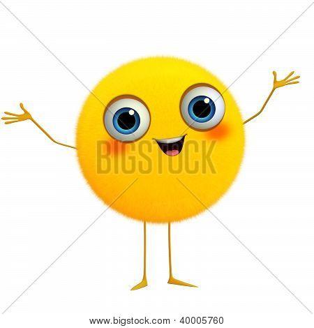3D Cartoon Cute Yellow Ball