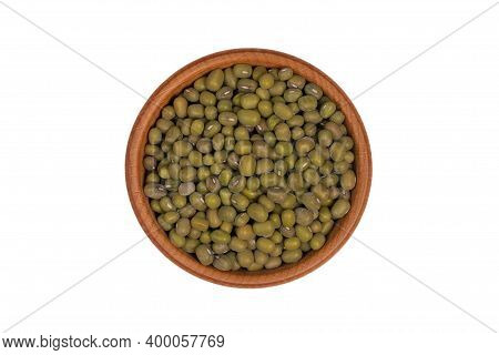 Close Up Green Mung Beans In Wooden Bowl