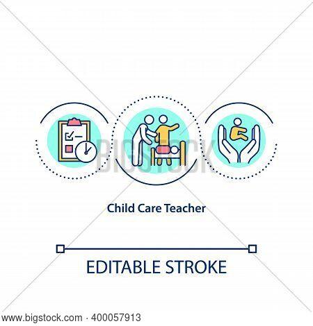 Child Care Teacher Concept Icon. Providing For Children Basics Needs Idea Thin Line Illustration. Ch