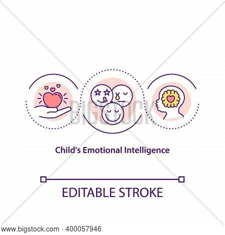 Child Emotional Intelligence Concept Icon. Emotions Management Idea Thin Line Illustration. Ability