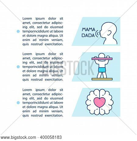 One Year Baby Milestones Concept Icon With Text. Imitating Speech Sounds. Gross And Fine Motor Skill